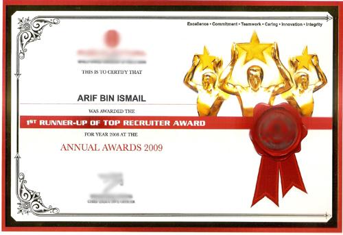 Caliph Unit Trust Agency-top-recruiter-award-arif