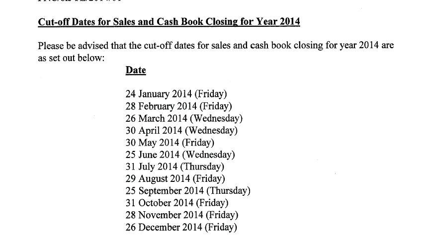 Jadual Sales Cut Off 2014 untuk Agen Public Mutual